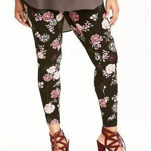 NEW Torrid Black Pink Rose Print Leggings 2